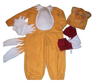 TAILS FOX Sonic the Hedgehog 4 pc Costume Halloween Hat Shoe Glove 2T 4  5  8 10