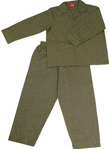 PYJAMA-SUIT-100-COTTON-DARK-GREEN-OLIVE-GREEN-SMALL-CHECKS-8-9YR