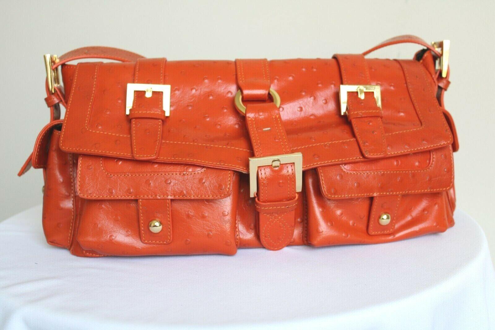 THE FIND Orange Leather w/ Ostrich Embossed Satchel Shoulder Handbag - NWOT