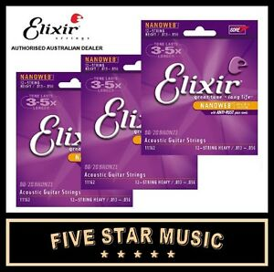 3-SETS-ELIXIR-Nanoweb-Medium-Acoustic-Guitar-Strings-3-Sets-13-56-11102