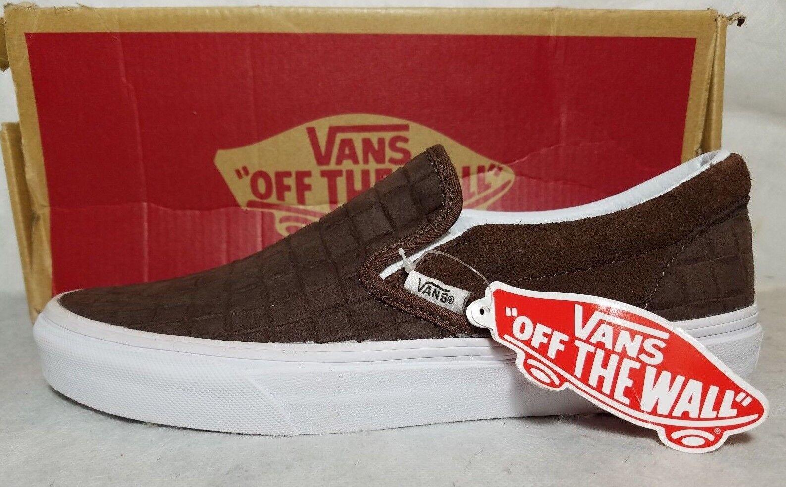 Vans Classic Slip On Suede Check Crocodile Brown Chestnut shoes Men 6.5 , Women 8
