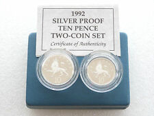 1992 British Crowned Rampant Lion 10p Ten Pence Silver Proof 2 Coin Set Box Coa