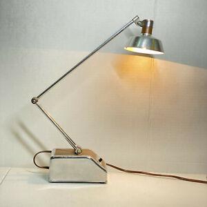 Vintage MCM Transformer Powered Chrome Woodgrain Desk Lamp Model 96 Working
