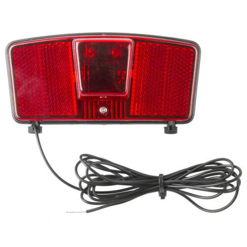 BIKE CARRIER REAR LIGHT 2 LED CYCLE 115x55MM CUSTOM LAMP CABLE DYNAMO RED