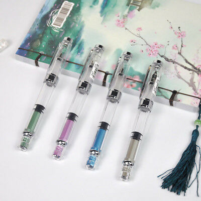 Wing Sung 3008 Silver Clip Piston Fountain Pen Extra Fine EF Nib 0.38//0.5mm Gift