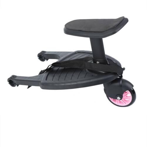 Buggy Board Kiddy Trittbrett mit Sitz für Kinderwagen Rollbrett Rosa Samger
