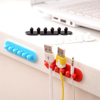 2X Wire Cord Clip Cable Line Holder Tie Fixer Organizer Drop Adhesive Clamp New