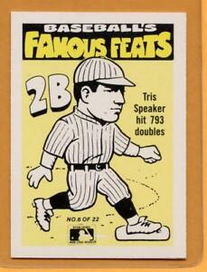 Details About 1986 Fleer Famous Feats Baseball Card 6 Tris Speaker