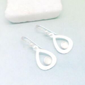 Perlmutt-weiss-matt-Design-Tropfen-Ohrringe-Ohrhaenger-925-Sterling-Silber-neu