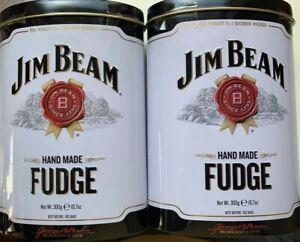 2x-Jim-Beam-Whiskey-Fudge-300-g-Geschenkdose-Karamelle-Whisky-Fudges-Geschenk