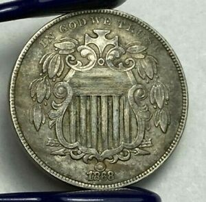 1868 Shield Nickel 5C Raw Coin High Grade Ungraded FULL DETAIL AND LINES AU+/MS?