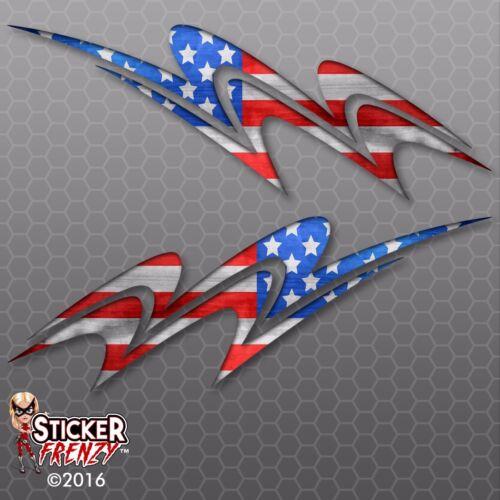 RV Swish USA Flag Decal American US Truck Camper Motorhome Trailer Sticker 2pc