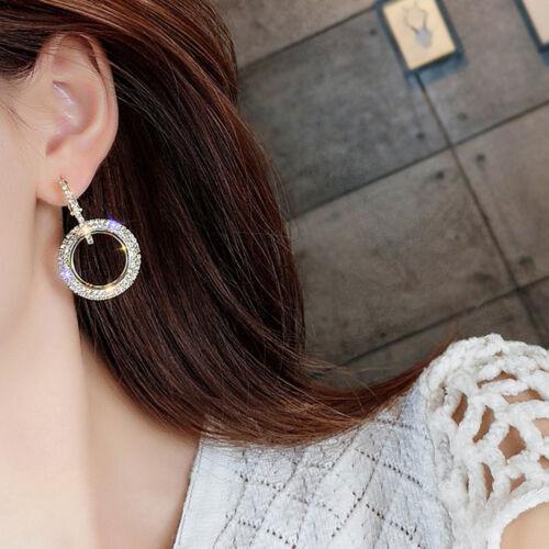 Luxury Round Earring Women Crystal Geometric Hoop Earrings Fashion Gifts Jewelry
