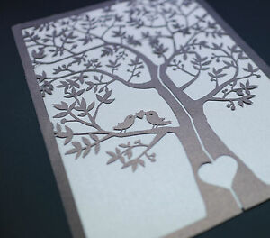 Image Is Loading 60 Sets Laser Cut Tree And Love Birds