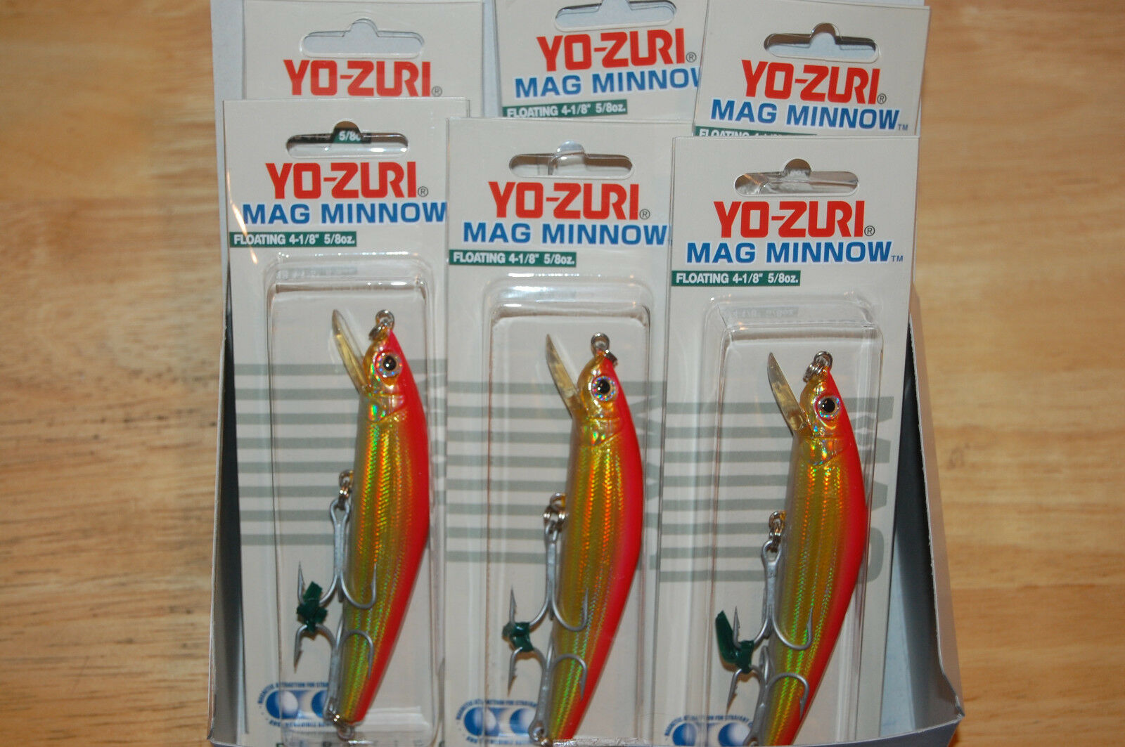 6 lures yo zuri mag minnow 4 1 8  5 8oz floating holo gold red dealer box