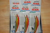 "6 lures yo zuri mag minnow 4 1/8"" 5/8oz floating holo gold red dealer box"