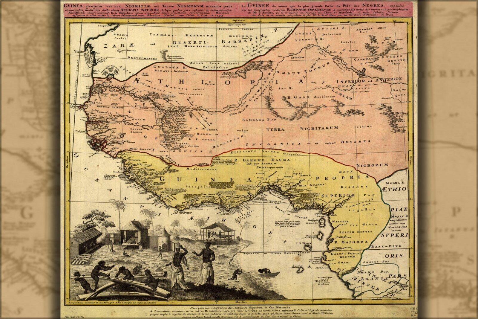 Affiche, Plusieurs Dimensiones; Carte de Antilles Afrique