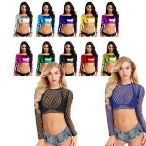 Women-Sheer-Fishnet-T-Shirt-Long-Sleeve-Tee-Crop-Top-Party-Blouse-Vest-Clubwear