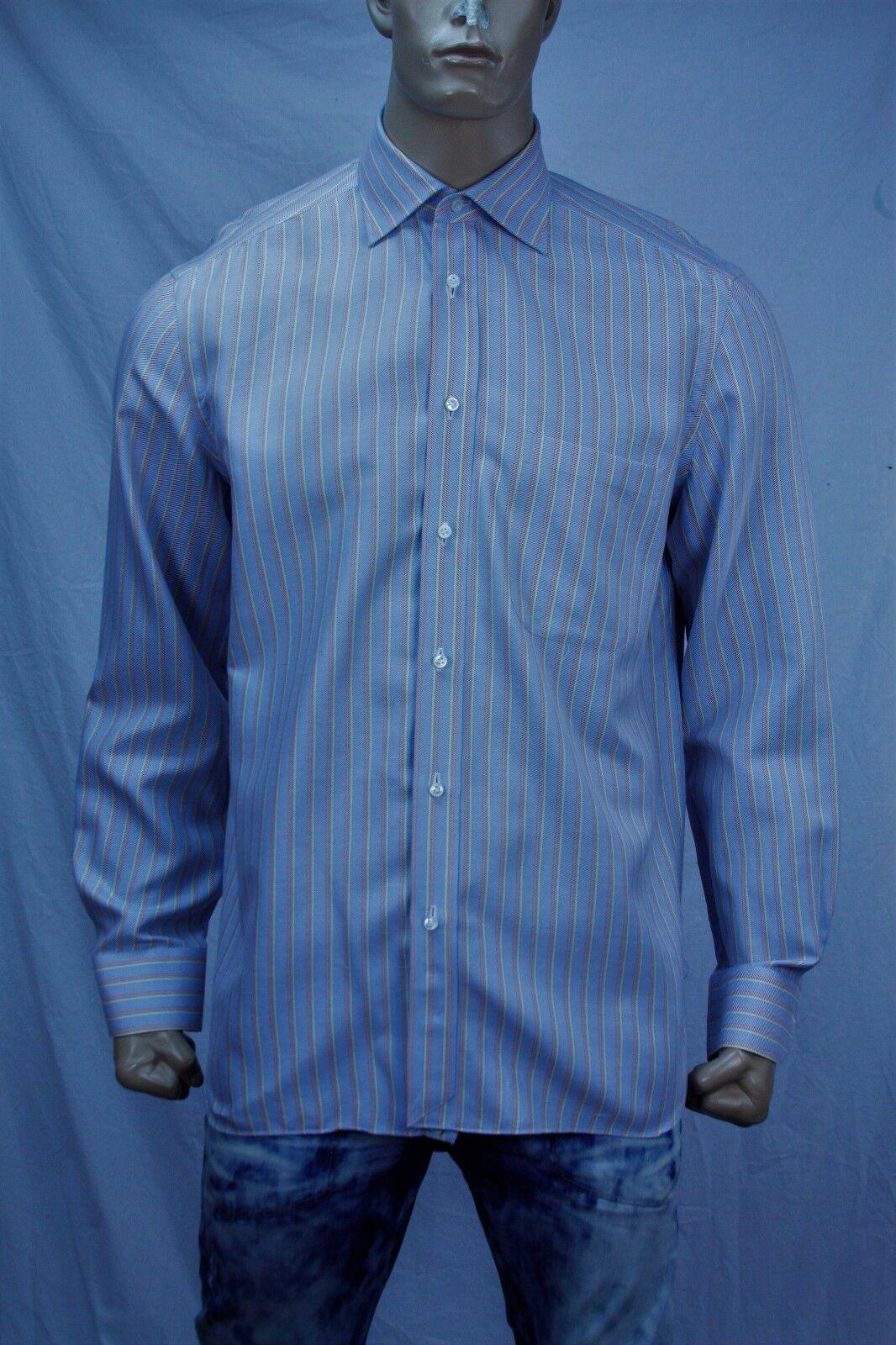 Authentic Borrelli Napoli Men's striped cotton dress shirts US 16 Made in .