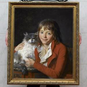 Old-Master-Art-Antique-Oil-Painting-Portrait-boy-cat-on-canvas-30-034-x40-034