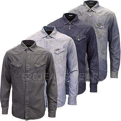 WRANGLER Western Camicia Di Jeans luce indaco