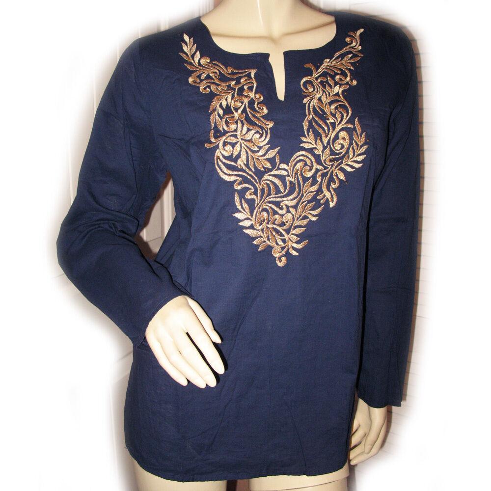 SUSAN GRAVER damen Long Sleeve Top Shirt Cotton Gold Beads Embroidery Navy Blau