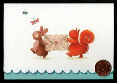 PAPYRUS Bunny Rabbit Squirrel Letter Butterfly *GLITTERED Greeting Note Card NEW