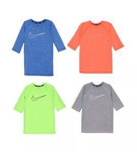aae287414ad76 NEW Nike Boys Youth Age 8-20 Swoosh Hydro Rash Guard Swim Top Shirt ...