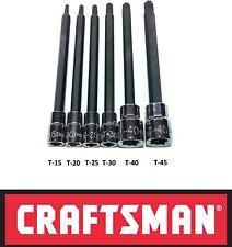 Craftsman 6pc 14 38 Long Torx Star Bit Ratchet Wrench Socket Set Hand Tools
