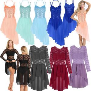 Women-Sequins-Lyrical-Ballet-Leotard-Dance-Girls-Gymnastics-Dress-Skirt-Unitards