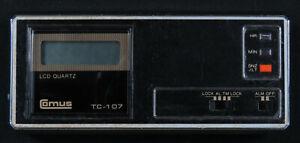 Vintage 80s Comus TC-107 LCD Quartz Travel Size Desk Alarm Clock Case