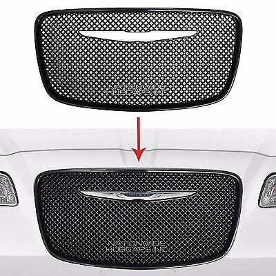 2015 2016 Chrysler 300 BLACK Grille Overlay Front Full Mesh Grill Cover Insert