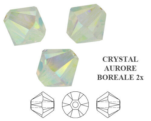 24pc Swarovski Crystal Clear Ab2x 4mm Bicone 5328 Beads