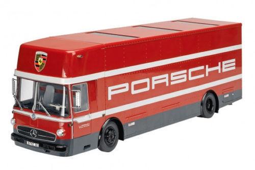 1:18 Schuco Mercedes-Benz O317 Porsche Race Car Transporter Motorsport Racing -