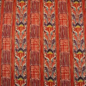 CLARENCE-HOUSE-NEW-MAZAR-BRICK-RED-IKAT-STRIPE-100-LINEN-FABRIC-BY-YARD-54-034-W
