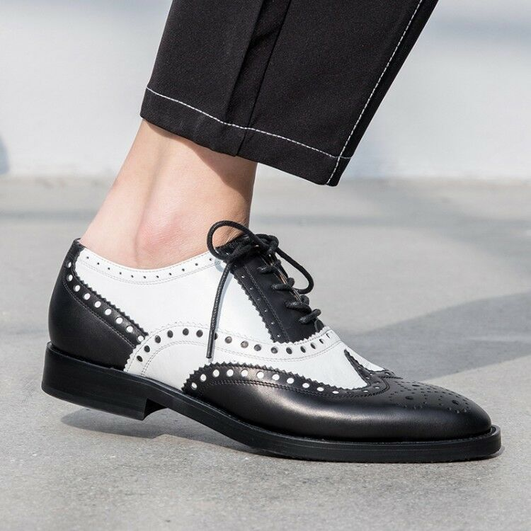 Women Ladies New Fashion Leather Lace Up British Oxford Brogue Court shoes CGMS