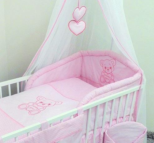 Happy Bear Cot Bed 140 cm Baby Nursery 6 piece Bedding Set Fits Cot 120 cm