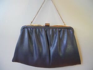 Vintage 1950s Ande Navy Leather Clutch Bag Purse Handbag Rockabilly ... e544d39c14d4b