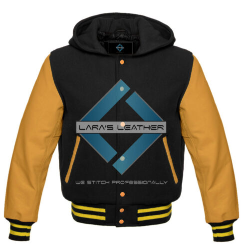 New Letterman College Varsity Jacket with Hood /& Yellow Gold Real Leather Sleeve