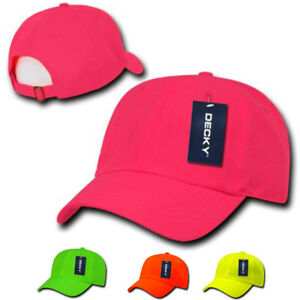 bec4bf27f5c32 DECKY Blank Neon Pre Curved Bill 6 Panel Low Crown Dad Hats Caps