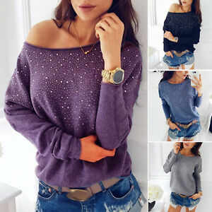 Womens-Ladies-Off-Shoulder-Casual-Tops-Sweatshirt-Jumper-Sweater-Pullover-Blouse
