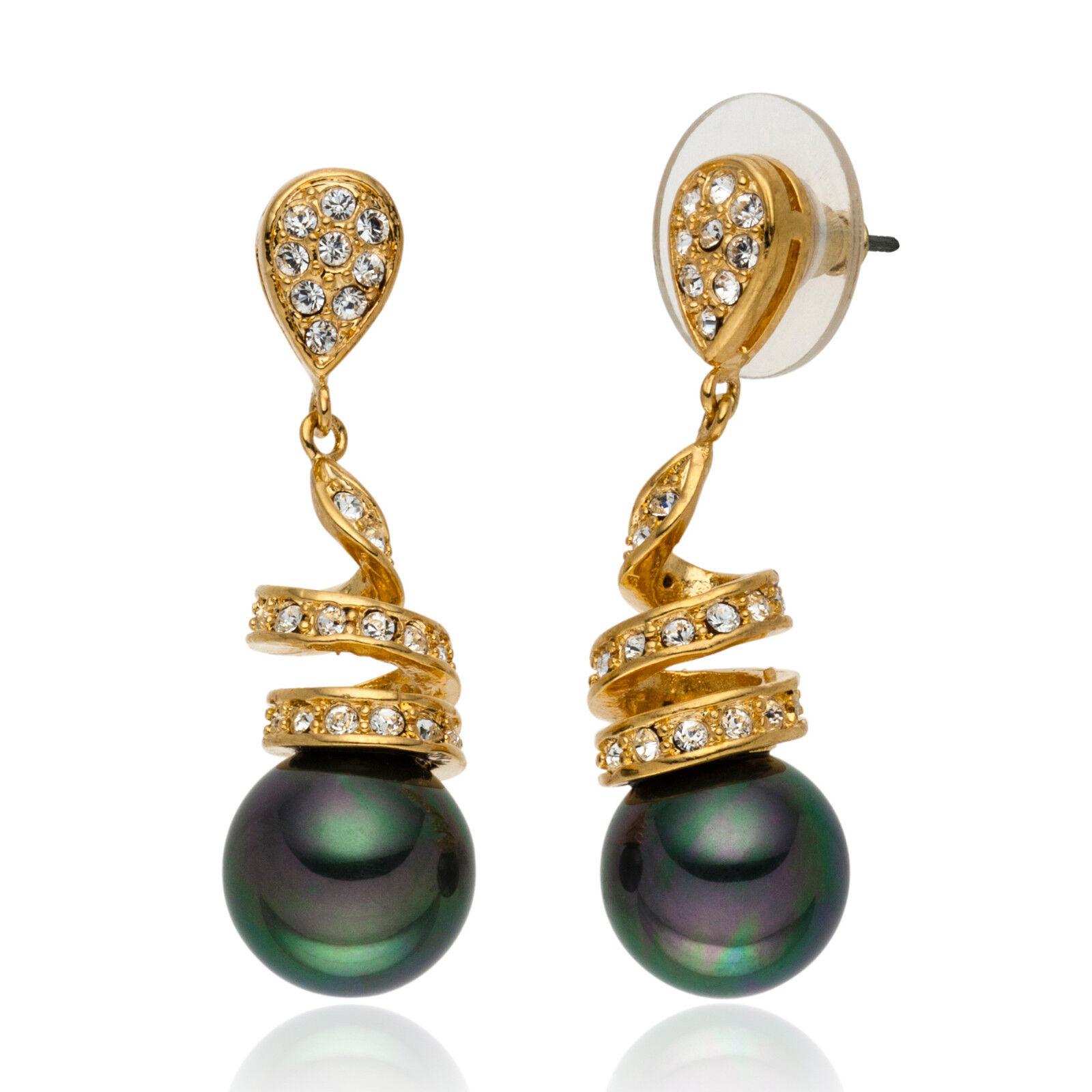 LUXURY tahiti green Shell core Pearl Earrings Yellow gold plated (FO19)
