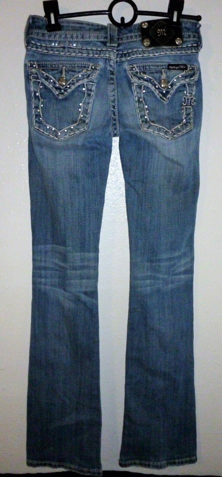 Miss Me JP512413B3L Boot Cut Jeans Light Wash Low Rise Sz 24 W 28  x 33  Inseam