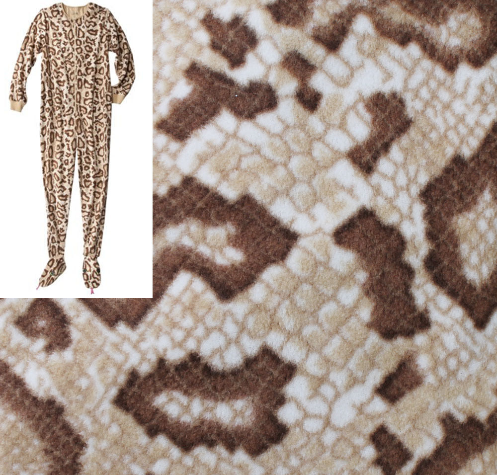 ADULT FOOTED Fleece Pajamas SNAKE Skin Pattern Footie Women One Piece Union Suit