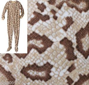 3559aa090d17 Image is loading ADULT-FOOTED-Fleece-Pajamas-SNAKE-Skin-Pattern-Footie-