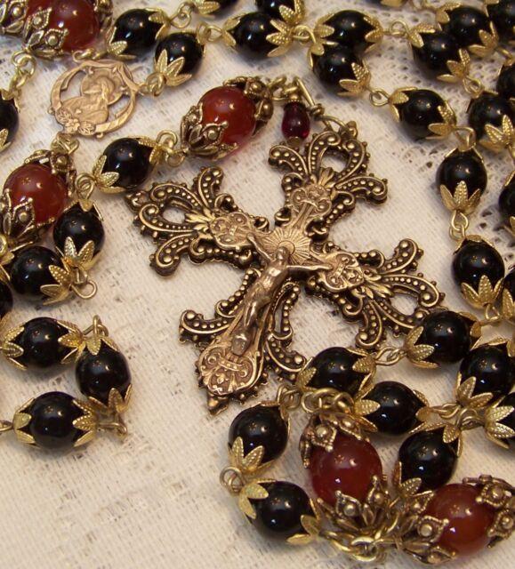 Rosary ~ 8mm Black Onyx ~ Sacred Heart of Jesus ~ Antique Bronze Design