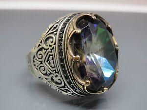 Turkish-Handmade-Jewelry-925-Sterling-Silver-Rainbow-Stone-Men-039-s-Ring-Sz-9