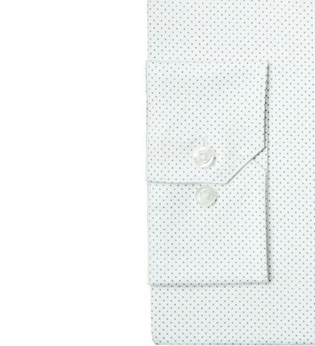 $95 ALFANI Men SLIM-FIT STRETCH WHITE POLKA-DOT BUTTON DRESS SHIRT 17-17.5 34//35