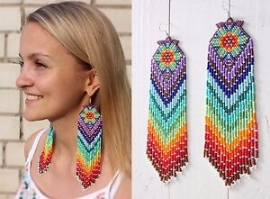 Image Is Loading Native American Beaded Earrings Style Beadwork