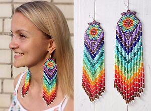 Image Is Loading Native American Beaded Earrings Style Beadwork